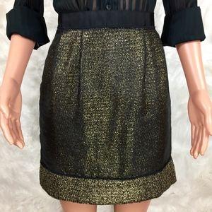 Ann Taylor Loft Gold Tweed Taffeta Overlay Skirt